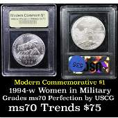 1994w Women in Military Modern Commem Dollar 1 Graded
