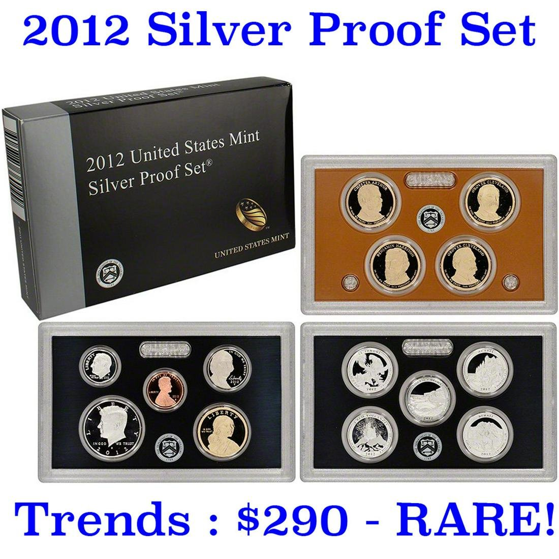 Hard to get, low mintage 2012 US Mint Silver Proof Set;