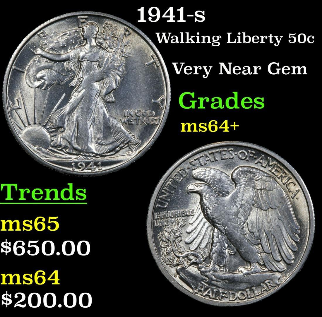 1941-s Walking Liberty Half Dollar 50c Grades Choice+