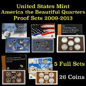 Group of 5 United States America The Beautiful Quarters