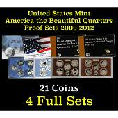 Group of 4 United States America The Beautiful Quarters