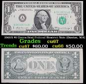 1969A $1 Green Seal Federal Reserve Note (Boston, MA)