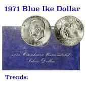 "1971-s Silver Uncirculated Eisenhower Dollar ""Blue Ike"""