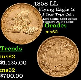 1858 LL Flying Eagle Cent 1c Grades Select Unc