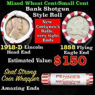 Mixed small cents 1c orig shotgun roll, 1918-d Wheat