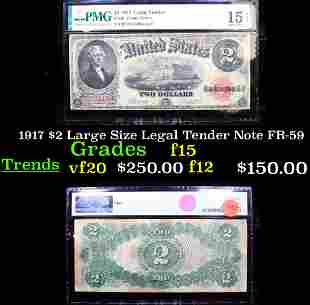 1917 $2 Large Size Legal Tender Note FR-59 Graded f15