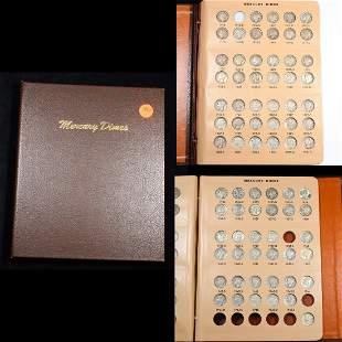 ***Auction Highlight*** Near Complete Mercury Dime Book