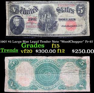 """1907 $5 Large Size Legal Tender Note """"WoodChopper"""""""