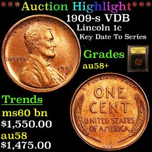 *Highlight* 1909-s VDB Lincoln 1c Graded Choice AU/BU