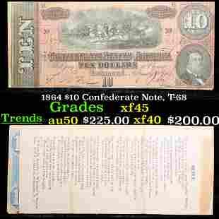 1864 $10 Confederate Note, T-68 Grades xf+