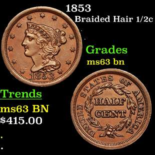 1853 Braided Hair 1/2c Grades Select Unc BN