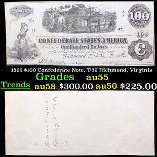 1862 $100 Confederate Note, T-39 Richmond, Virginia