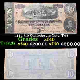 1864 $10 Confederate Note, T-68 Grades xf