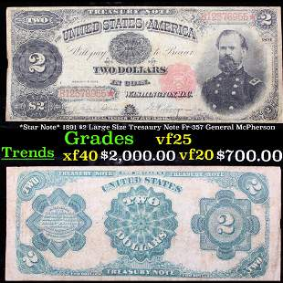 *Star Note* 1891 $2 Large Size Tresaury Note Fr-357