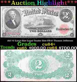 ***Auction Highlight*** 1917 $2 Large Size Legal Tender