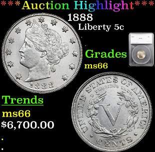 *Highlight* 1888 Liberty 5c Graded ms66