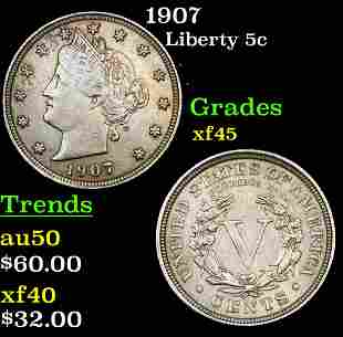 1907 Liberty 5c Grades xf+