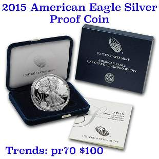 2015 1 oz .999 fine Proof Silver American Eagle orig