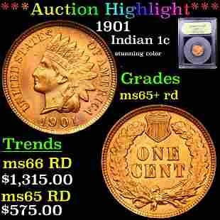 ***Auction Highlight*** 1901 Indian Cent 1c Graded Gem+