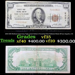 1929 $100 National Currency Type 1 Low Serial #