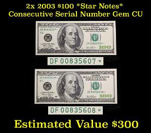 *Star Note* 2x 2003 $100 Federal Reserve Note