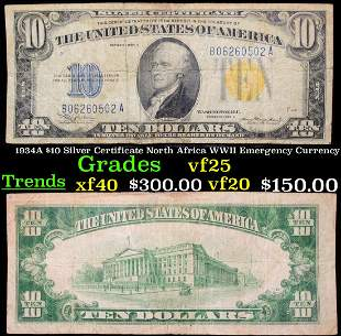 1934A $10 Silver Certificate North Africa WWII