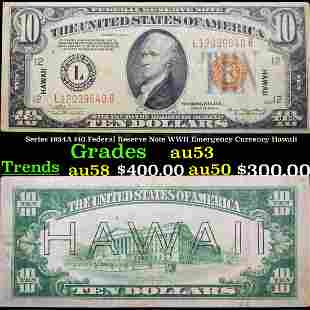 Series 1934A $10 Federal Reserve Note WWII Emergency