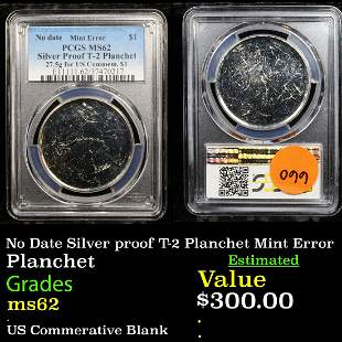 No Date Silver proof T-2 Planchet Mint Error Planchet