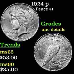 1924-p Peace Dollar $1 Grades Unc Details