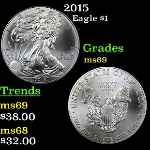 2015 Silver Eagle Dollar $1 Grades ms69