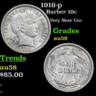 1916-p Barber Dime 10c Grades Choice AU/BU Slider