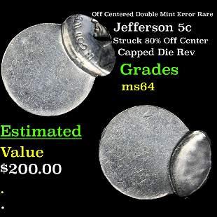 Off Centered Double Mint Error Rare Jefferson Nickel 5c