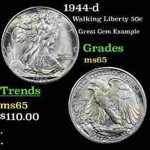 1944-d Walking Liberty Half Dollar 50c Grades GEM Unc