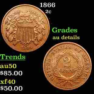 1866 Two Cent Piece 2c Grades AU Details