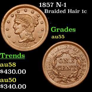 1857 N-1 Braided Hair Large Cent 1c Grades Choice AU