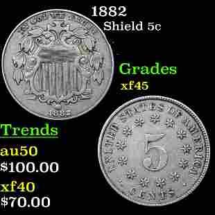 1882 Shield Nickel 5c Grades xf+
