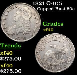1821 O-105 Capped Bust Half Dollar 50c Grades xf