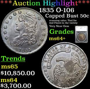 ***Auction Highlight*** 1835 O-106 Capped Bust Half