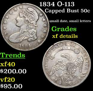 1834 O-113 Capped Bust Half Dollar 50c Grades xf