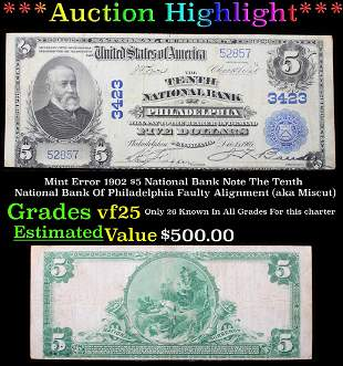***Auction Highlight*** Mint Error 1902 $5 National