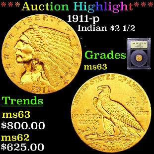 *Highlight* 1911-p Indian $2 1/2 Graded Select Unc