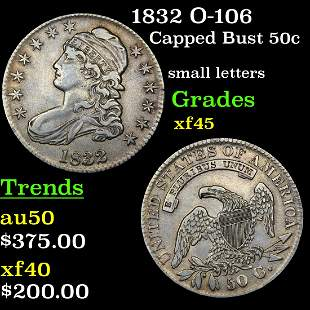 1832 O-106 Capped Bust 50c Grades xf+