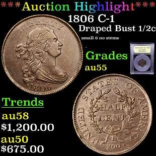 *Highlight* 1806 C-1 Draped Bust 1/2c Graded Choice AU