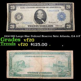 1914 $20 Large Size Federal Reserve Note Atlanta, GA