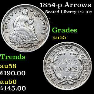 1854-p Arrows Seated Liberty 1/2 10c Grades Choice AU