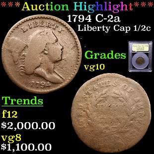 *Highlight* 1794 C-2a Liberty Cap 1/2c Graded vg+
