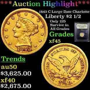 *Highlight* 1843 C Large Date Charlotte Liberty $2 1/2