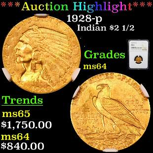 *Highlight* 1928-p Indian $2 1/2 Graded ms64