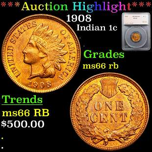 *Highlight* 1908 Indian 1c Graded ms66 rb