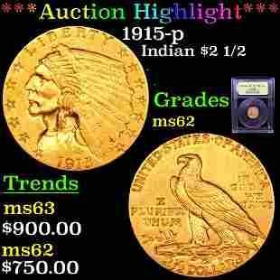 *Highlight* 1915-p Indian $2 1/2 Graded Select Unc